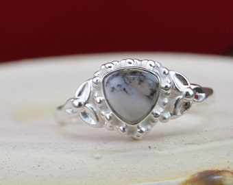 Dendritic Agate and Sterling Silver ring size 10.5