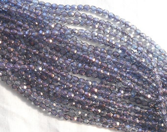 50 4mm Czech glass beads, Purple Luster, firepolished, faceted amethyst luster round beads C3650