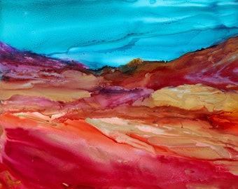 Southwest Vibrant Colorful Abstract Landscape Painting Wall Decor Original Alcohol Ink Painting Limited Edition Print on Cradled Wood Panel