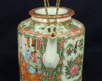 FREE SHIPPING Antique beautiful rose medallion teapot