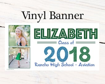 Class of 2018 Graduation Photo Banner ~ Congrats Grad Personalized Party Banners -School Colors Graduation Large Banner, Green and Blue Grad