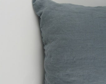 Handmade Decorative Linen Pillow Cover / Throw Pillow Cover / Cushion Case / Accent Pillow --- Gray