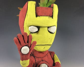 Iron Man // Ceramic Planter // Handmade // Superhero // Office Decor // Succulent Pot // Comic Book // Office Home Decor // Handmade