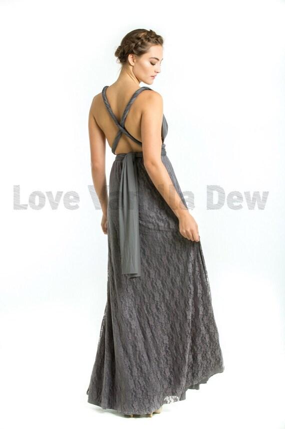 Brautjungfer Kleid Infinity Kleid Anthrazit Grau Boden Länge