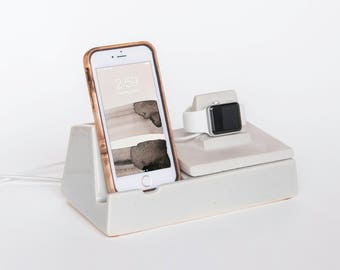 STAK Phone Dock and Apple Watch Charger, Earl Grey