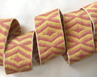"Decorative trim by yard - 2"" 5cm trim - vintage French Passementerie - sewing supply - pink yellow upholstery trim - curtain & lamp shade"