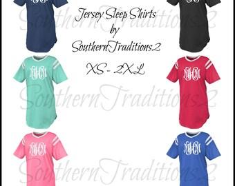 Monogram Jersey Sleep Shirt - Personalized Sleep Shirt - Monogrammed Sleep Shirt - Jersey Sleep Shirt