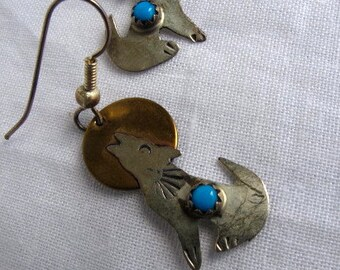 Silver and Turquoise Coyote Dangle Earrings, Unique Artist Handmade Vintage Earrings, Southwestern Coyote Silver Earrings,One of A Kind,9543