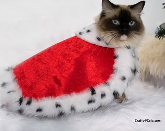 Royal Cat Costume - Royal Velvet Cloak Costume for Cats with Ermine faux fur - Royal Cloak Dogs - King cat costume - pet  costume