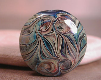 Artisan Glass Lampwork Focal Bead, Silver Glass Focal Bead, Divine Spark Designs, SRA