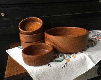 Teak Salad Bowl Set of 5 Serving Bowl and Salad Bowls  Dolphin Company Tailand