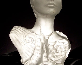 "ON SALE!  Stunning cast glass sculpture, figurative, bust, ""Grace Kelly Inspired"", one of a kind, fine art."