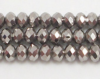 4x6mm Metallic Silver Crystal Rondelle beads 4x6mm crystal 6mm crystal rondelle 4x6mm glass crystal #4x6MTSLCC