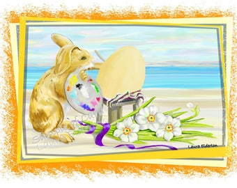 Easter Rabbit Painting by the Sea