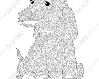 Dachshund Dog. Coloring Page for National Pet day greeting cards. Animal coloring book pages for Adults. Instant Download Print