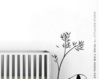 Baby Zoo Panda Wall Decal by LittleLion Studio: Showing ALL Black, ALL White, Black/Green, Medium Gray/Light Green