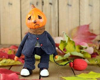 FREE SHIPPING ooak halloween art doll CASPER jack o lantern artist doll cute handmade black collectible toy polymer posable doll