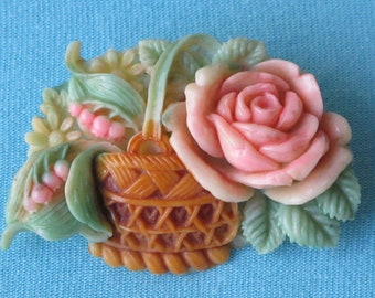 Brooch Pin Molded Celluloid Floral Basket Intricate Detail Pink Rose Lilies of the Valley Flowers Green Leaves Signed Japan Vintage 1930's