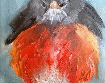 "Bird Painting, Robin Painting, 5x7"" Original Oil Painting, Free Shipping"