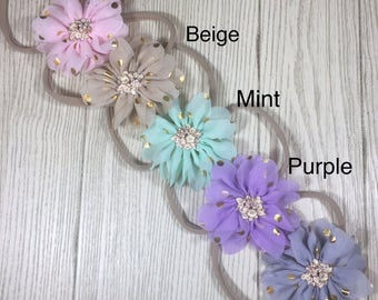 Newborn Headbands Baby Girl- Chiffon Flower Nylon Headband- Headband set