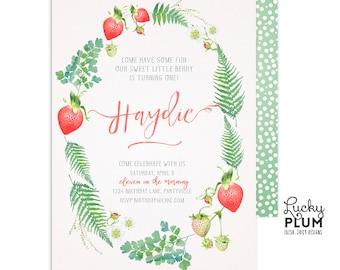 Strawberry Birthday Invitation / First Birthday Invitation / Farmer's Market Birthday Invitation / Fruit Birthday Invitation / Digital