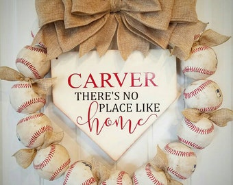 Baseball Wreath with Burlap Bow - Softball - Coach's Gifts- Baseball - Front Door Wreaths - There's No Place Like Home- Last Name Sign