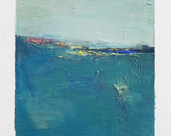 May 12, 2018 - Original Abstract Oil Painting - 9x9 painting (9 x 9 cm - app. 4 x 4 inch) with 8 x 10 inch mat