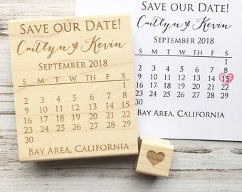 Save the Date Calendar Stamp with Heart - Custom Wedding DIY Rubber Stamp