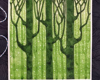 Forest, Trees, Green, Sap Green, Olive, Silhouette, Stars, Watercolor, Painting