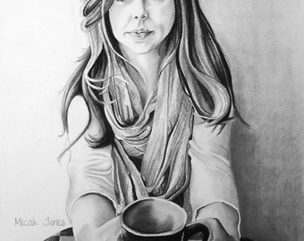 """11x14"""" Archival Print of Original Drawing- Trendy Cafe Girl"""