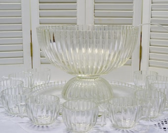 Vintage Glass Punch Bowl Set Under Plate Pedestal Stand Cups National Clear by Jeanette Ribbed Dot Panchosporch