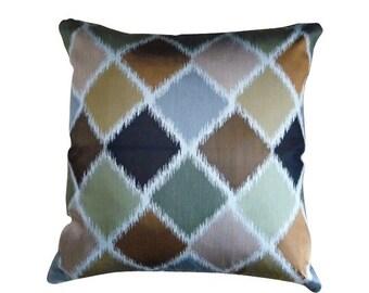 Nina Campbell - multicolor silk diamond pattern large pillow