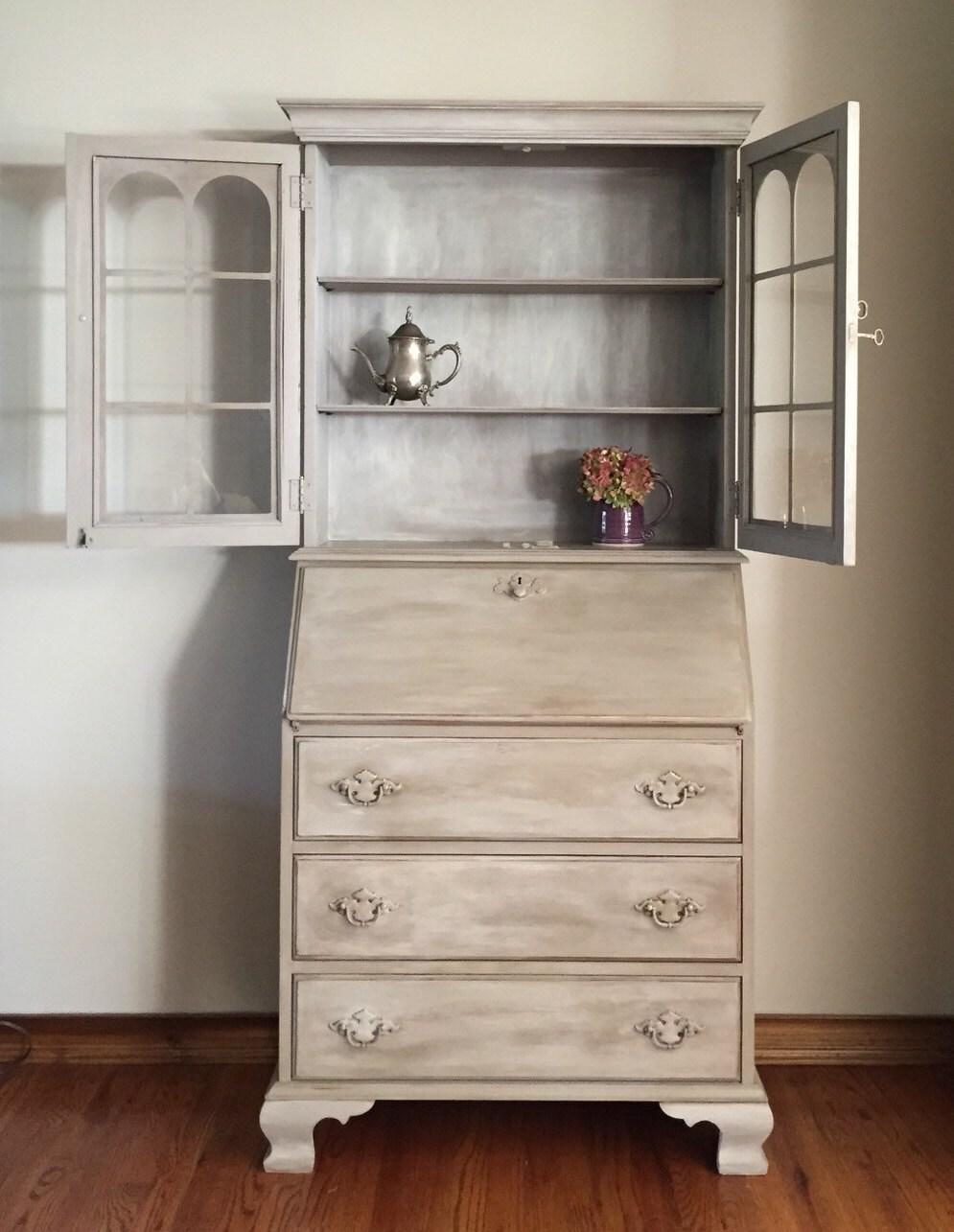 🔎zoom - Vintage/Antique Secretary Desk/Hutch Refinished Hand