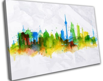 Watercolour Berlin Skyline Cityscape Canvas Print Home Decor- Abstract Wall Art - Modern Prints - Ready To Hang