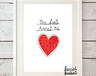 You Don't Annoy Me Funny Cute Boyfriend Girlfriend Romantic Love Illustration Home Decor Art