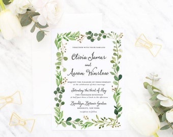 Whimsical Watercolor Wedding Invitation Suite / Wedding Invite Set - The Olivia Botanical Suite