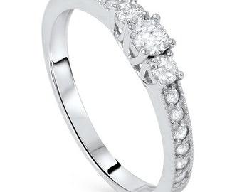 3 Stone 1/2CT Diamond Engagement Ring 14K White Gold Anniversary Past Present Future Band