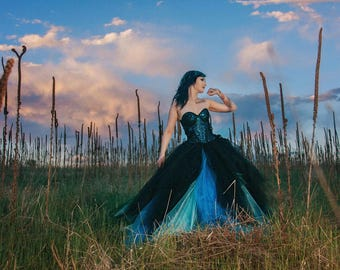 Gothic evening gown, gothic inspired corset gown