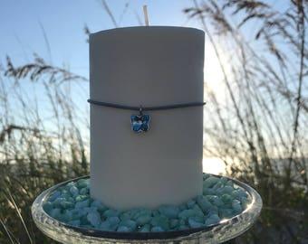 "Soy, Pillar on the Rocks, 3"" x 5"", with Swarovski Crystal Butterfly, Beach Wedding Centerpiece, Elegant gift  Eco Safe"