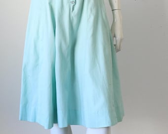 Vintage 50's Sleeveless Mint Green Sleeveless Dress with Rhinestone Buttons
