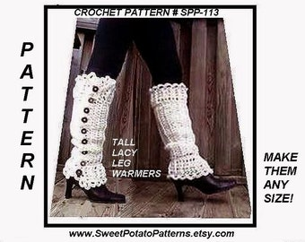 CROCHET Legwarmers , Long Tall Legwarmers, Crochet PATTERN, Make them any size, child,adult, women, toddler, teen, #SPP-113,  digital down