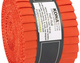 Kona Cotton Solids 2.5-inch Strips Roll-Up - Tiger Lily - 2018 Color of the Year - Robert Kaufman HR-137-20