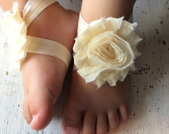Baby barefoot sandals; ivory baby barefoot sandals;  baby barefoot sandal; flower sandal