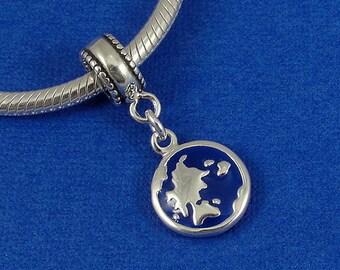 Earth Globe European Dangle Bead Charm - Sterling Silver Earth Globe Charm for European Bracelet