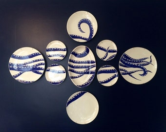 Plate wall, octopus wall decor, wall hanging, nautical plates, ocean theme, handpainted pottery, ceramic serving ware, mosaic plate wa