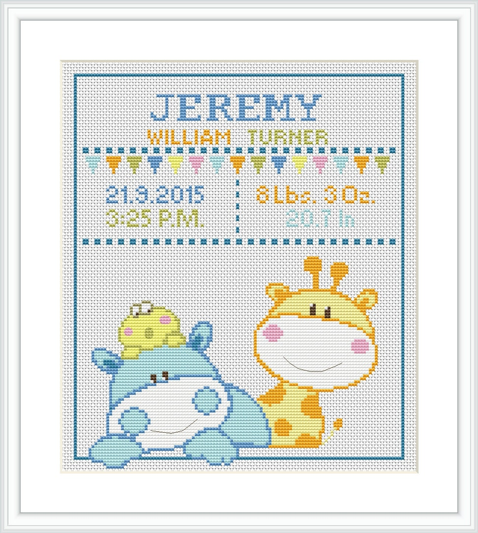 Cross Stitch Pattern baby Birth announcement Animal Giraffe
