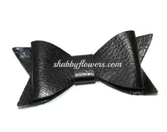 Faux Leather Bow - BLACK, Leather Bow, Baby Headband, Hair Bow, Headband Bow