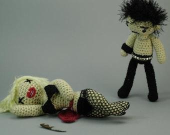 """Sid and Nancy CUSTOM """"Antigurumi"""" amigurumi set"""