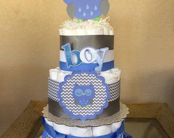 Owl Themed Baby Boy Diaper Cake/Baby Shower/Owl Baby Shower/Blue & Grey Owl Diaper Cake/Teddy Bear Diaper Cake/Baby Boy Diaper Cake