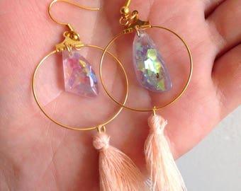dangle hoop earrings pink blue iridescent crystals